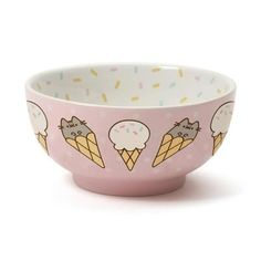 Enesco Pusheen by Our Name is Mud Stoneware Ice Cream Snack Bowl, Pink, ** Learn more by visiting the image link. (This is an affiliate link) Gato Pusheen, Pusheen Stuff, Pusheen Gifts, Cat Merchandise, Ice Cream Bowl, Kawaii Room, Snack Bowls, Cute Kitchen, Things To Buy