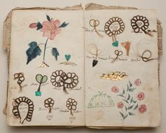 Friendship album, Margaret Williams, 1839,Album with locks of hair sewn onto the pages in loops of stylized flowers with colored drawings of flowers    (via fleurdechair)