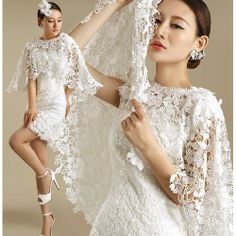 White Lace Knee Length Short Sheath Wedding Bridal Party Wrap Dress SKU-166197