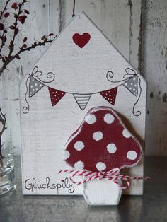 """** In my """"GLÜCKSPILZ-Kollektion"""" you will find wooden displays, wooden houses and w Wood Crafts Furniture, Scrap Wood Crafts, Wood Block Crafts, Wooden Crafts, Small Wood Projects, Craft Projects For Kids, Rock Crafts, Diy And Crafts, Ceramic Houses"""
