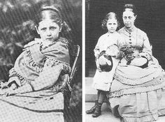 Left: Beatrix in about 1874, aged 7 or 8 – Source. Right: Beatrix, aged 9 or 10, and her mother Helen in a photograph taken by Beatrix's fat...
