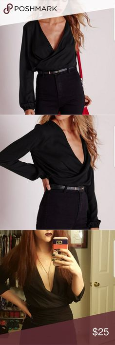 Misguided Cropped Wrap Blouse Gently worn sexy black blouse. US size 4 Missguided Tops Blouses