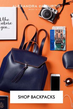 Shop lightweight Italian luxury leather Mini Backpacks from Rome, Italy. Get 10% off your first order at alexandradecurtis.com/join Italian Leather Handbags, Designer Leather Handbags, Navy Bags, Blue Bags, Blue Handbags, Leather Backpacks, How To Make Handbags, Rome Italy, Italian Fashion