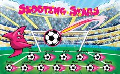 Shooting Stars digitally printed vinyl soccer sports team banner. Made in the USA and shipped fast by BannersUSA. http://www.bannersusa.com