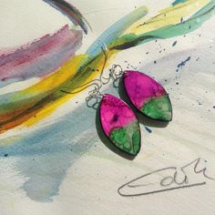 #edithartsdesigns#colors#revesdemèr#pink#green#mixedarts#lovewhatyoudo#jewelry#hanpainted#handbemalt#painting Pink And Green, Watercolor Tattoo, Colors, Painting, Instagram, Jewelry, Art, Jewlery, Jewels