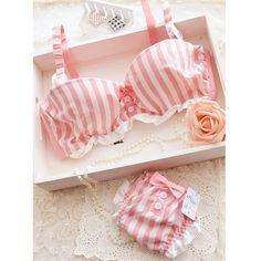 bow stripe Bra & Brief Set, cotton, low-waist, Underwire $10.82
