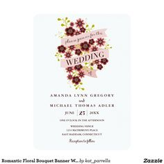 Romantic Floral Bouquet Banner Wedding Invitation
