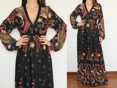 Long Sleeve Maxi Dress in Black Paisley for Women by KSclothing, $34.00