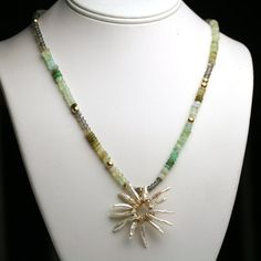 Stick Pearl Sunburst Necklace with Blue Peruvian by fussjewelry