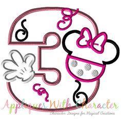 Minnie Mouse Applique Design, Minnie Mouse Embroidery Design, Minnie THREE Applique Design, Girl Applique Design, Girl Embroidery Design by www.appliqueswithcharacter.com