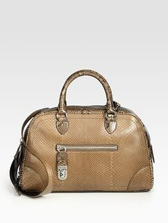 Marc Jacobs Venetia Small Python Bowler Bag -[ bower bag] - A bag that shaped like a bowling ball bag, usually has a reinforced straps and sort of a half oval shape. ( norzilah/FD1A1)