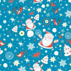 Santa In The Sky Seamless Tile Background Patterns Vector Free Christmas