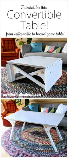 Convertible Coffee Table Tutorial and FREE Building Plans! - Reality Daydream Convertible Coffee Table Tutorial and FREE Building Plans! Pedestal Coffee Table, Coffee Table Plans, Unique Coffee Table, Coffee Table Styling, Rustic Coffee Tables, Diy Coffee Table, Coffee Coffee, Coffee Table Convert To Dining Table, Folding Coffee Table