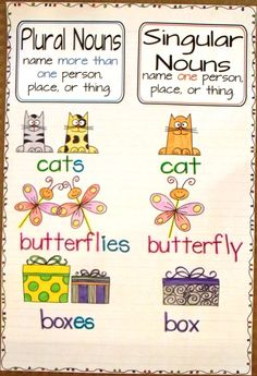 Singular and Plural Nouns Anchor Chart