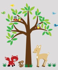 Bambi Wall Decal Forest Theme With Bear And Deer EvgieNev - Wall decals for church nursery