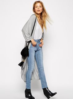 #SALE Grey Long Sleeve Loose Maxi Kimono Shop the #SALE at #Sheinside