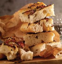 Focaccia with caramelised red onions