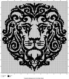 lion tribal cross stitch pattern