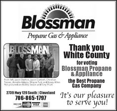 Thank you White County for voting  Blossman Propane & Appliance  the Best Propane Gas Comp...   Blossman Propane Gas - Cleveland, GA #georgia #ClevelandGA #shoplocal #localGA