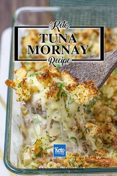 """Keto Tuna Mornay – A Low Carb """"Cheesy & Creamy"""" One Pan Casserole Keto Tuna Mornay – """"Cheesy & Creamy"""" This delicious low carb tuna casserole recipe is an ideal easy dinner or lunch. It's even easy to make ahead and cook as needed. Tuna Casserole Recipes, Tuna Recipes, Seafood Recipes, Low Carb Recipes, Diet Recipes, Healthy Recipes, Healthy Food, Keto Casserole, Healthy Fruits"""