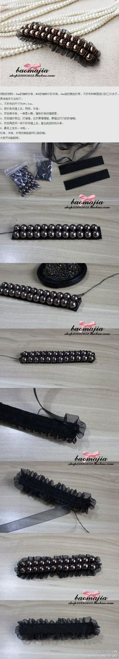 for my french barrette pearls black