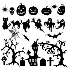 Vector set of Halloween silhouette pumpkin, bat, cat, an old tree, net, spiderweb, evil, skeleton, skull, hunted house, graveyard, scary sce...