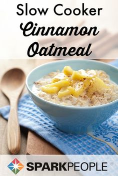 Slow Cooker Apple Brown Cinnamon Oatmeal Recipe. Start tomorrow with a smile--this hearty, healthy, flavorful meal will fill you up and keep you going all day! | via @SparkRecipes