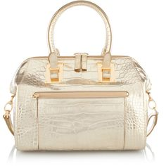 Henri Bendel Whitney Metallic Croc Satchel (2.365 ARS) ❤ liked on Polyvore featuring bags, handbags, gold, satchel purse, henri bendel handbags, satchel handbags, crocodile purse and pouch purse