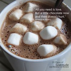 What could be better than a steaming mug of hot chocolate, preferably with marshmallows, after a day outside in the Montana winter? Today we are thankful for this delicious remedy for frosty fingers and nipped noses. Hot chocolate just tastes better in Montana....