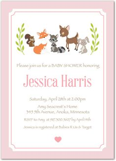 Woodland Animals Laurel Leave Wreath - Girl Baby Shower Invitations MyExpression