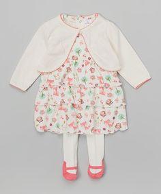 Look at this #zulilyfind! Little Beginnings White Fox Dress Set - Infant by Little Beginnings #zulilyfinds