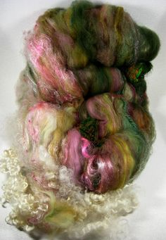 Sweetness Wild Card Bling Batt for Spinning and by yarnwench, $32.00
