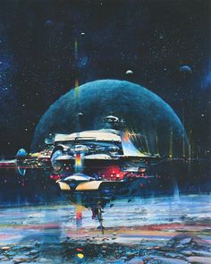 martinlkennedy:  Space Mail by John Berkey 1980 (From his anthology John Berkey- Painted Space, published 1991)