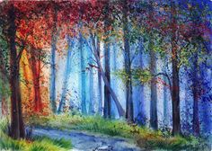 Ukraine-based artist Anna Armona creates colorful water paintings of various natural landscapes throughout the seasons.