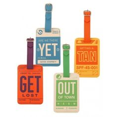 Vintage inspired. These luggage tags feature fun-filled messages and a hidden contact info compartment. Travel in style.