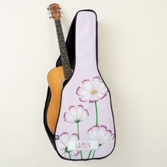 Fuchsia Edged Pink Cosmos with Name Guitar Case - girly gifts girls gift ideas unique special