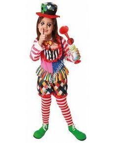 Disfraz de Payaso para niña. #DisfrazDivertido #Disfraces #Carnaval www.casadeldisfraz.com