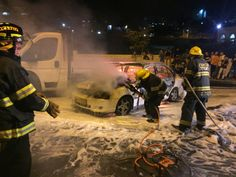 Jewish Woman Severely Burned, 2 More Injured in Yet Another Arab Firebombing Attack.  Firefighters put out fire in firebombed car near Beit Hanina on August 3, 2105.