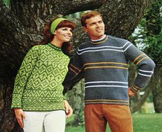 Nineteen knitting patterns for mens and ladies sweaters and cardigans.    Treasure Knits Lady Galt 37 copyright 1968    Small stains along spine seem