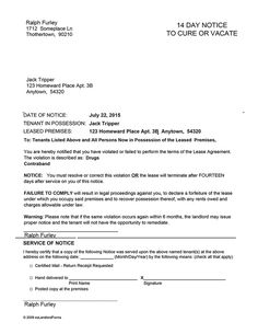 Landlord tenant lease form sample landlord forms pinterest kentucky 14 day notice to cure or vacate ez landlord forms thecheapjerseys Gallery
