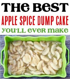 On the hunt for the perfect Fall dessert? This Apple Spice Dump Cake Recipe is easy to make and SO delicious! It's the perfect end to tonight's dinner! Fall Dessert Recipes, No Cook Desserts, Homemade Desserts, Fall Desserts, Fall Recipes, Dessert Ideas, Delicious Recipes, Apple Dump Cake With Pie Filling, Spice Dump Cake Recipe