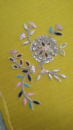 Zardozi Embroidery, Hand Embroidery Dress, Hand Embroidery Videos, Hand Embroidery Tutorial, Embroidery Motifs, Embroidery Fashion, Beaded Embroidery, Indian Embroidery, Hand Embroidery Design Patterns