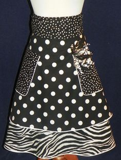 Unique Black and White with Polka Dots Hostess by nanasaprons, $25.77