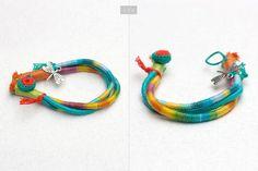 Turquoise friendship bracelet fiber art jewelry by rRradionica
