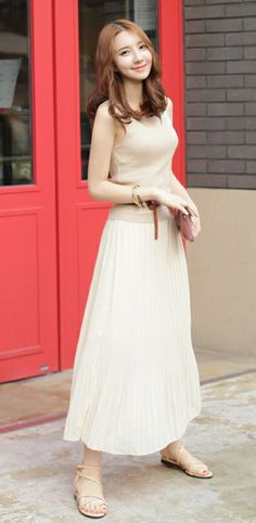 [Luxe Asian Women Dresses Fashion Style Korean Model Fashion Clothing] Knit Maxi Long Dress