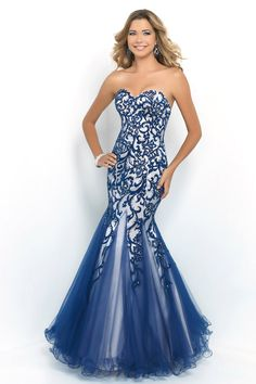 Long Indigo And Nude Strapless Beaded Mermaid Evening Gown