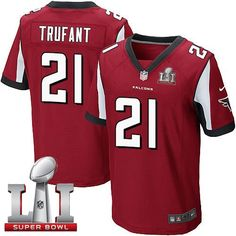 Nike Falcons #21 Desmond Trufant Red Team Color Super Bowl LI 51 Men's Stitched NFL Elite Jersey