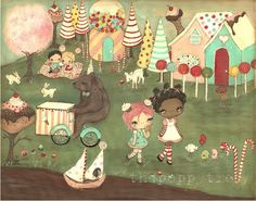 The Poppy Tree - Candy Print Whimsical Candyland Forest Gumball Girl Wall Art---Candy Land