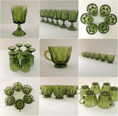 Vintage 35 Piece Green Anchor Hocking Fairfield Dinnerware