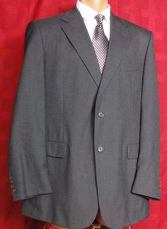 Stafford Gray Wool 2 Button Suit Size 44L Pants 38W x 30L #Stafford #TwoButton
